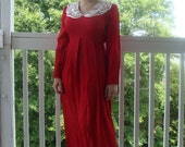 SALE Vintage 1980s S.L. Fashions Red Dress