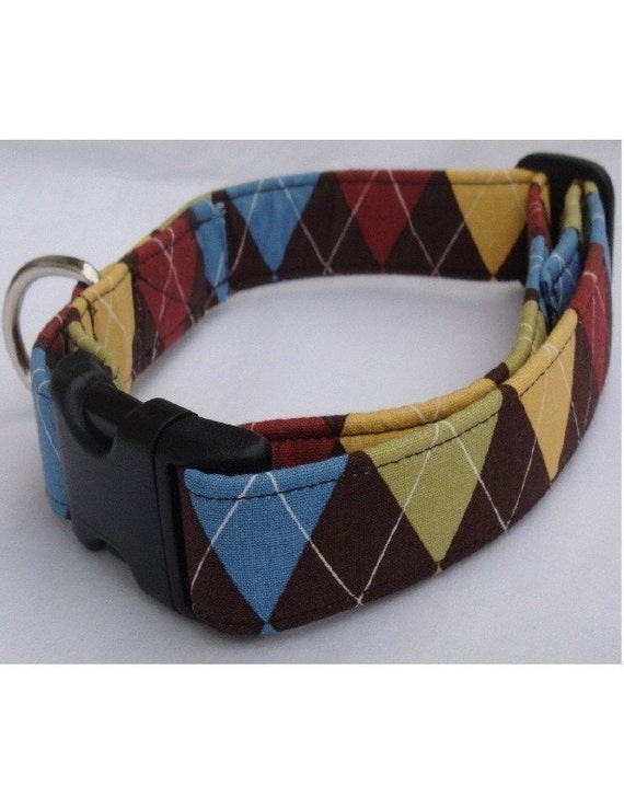 Dog Collar: For The Love Of Argyle- Adjustable Dog Collar