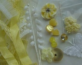 Aunt Lucys sewing table  N0 59 Vintage Lemon Yellow Lot Lace Buttons appliqués French tags