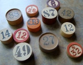 One Dozen Antique Vintage and New wooden Game markers
