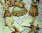 Highly Detailed Vintage Alice in Wonderland Cut Out Paper Dolls and Costumes