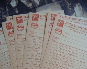 Very Vintage Antique Unused Seven Up Bottling Co. Order Bills