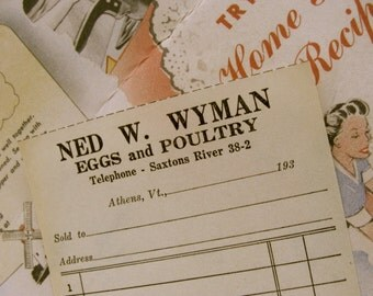 Antique unused 1930s Diary invoices for Eggs and Poultry lot