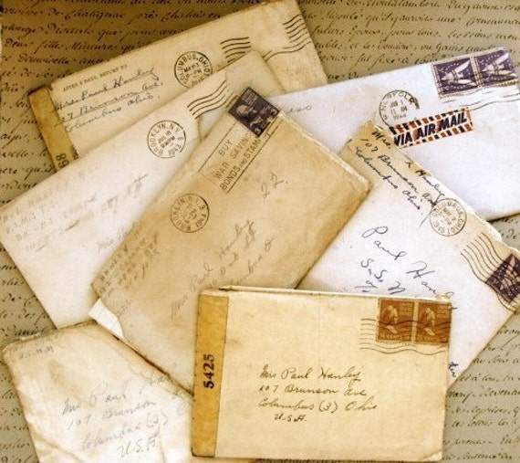 Ephemera Old Love Letter From World War 2 Post Marked 1940s