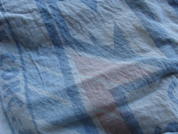 Antique Muslin Feed Sack Stunning HUGE Soft and Heavenly Blue and Pink