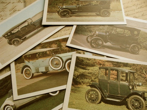 Road Trip One Dozen Antique Automobile Flash Cards Journey 50 YR Old Cards