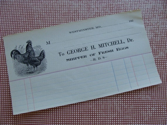 Rare Antique Rooster Engraved 1920s Unused Ledger Billhead Easter Ephemera