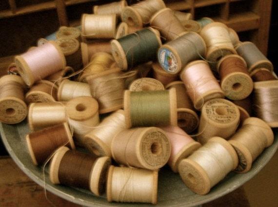 vintage wooden sewing spools 2