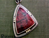 """SALE-Rare Eudialyte Necklace in Reclaimed Silver and 14 Karat Gold-""""Hard Freeze Necklace in Amaranth"""""""