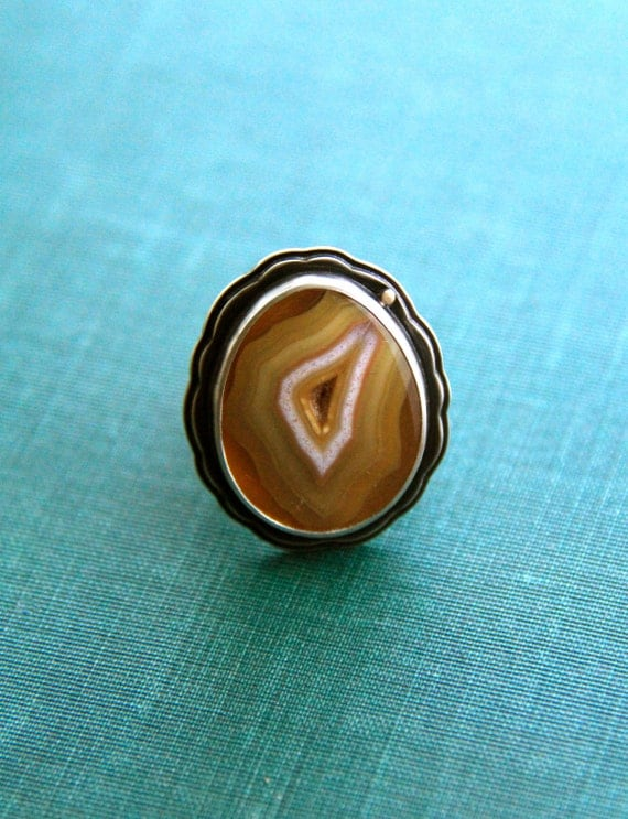 "Laguna Agate Ring in Recycled Silver and 14 Karat Gold in a Size 8.5 (Wide Band)-""Layers Ring in Goldenrod"""