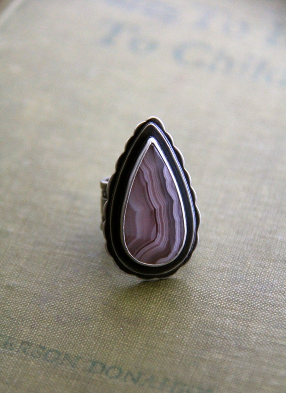 """Laguna Agate Ring in Recyled Sterling Silver in a Size 6.5 (Wide Band)-""""Layers Ring in Lavender"""""""