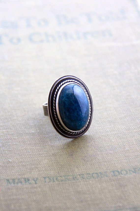 """Blue Stone Apatite Ring in Recyled Silver (Size 8.5)-""""Terrain Ring in Sea"""""""