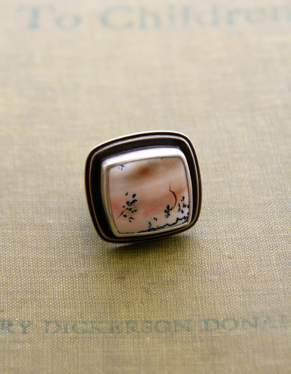 """Tiffany Stone Ring in Recyled Silver (Size 6)-""""Terrain Ring in Sand"""""""