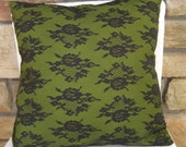 Black and Green lace accent pillow