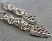 Chainmaille Earrings Byzantine Sterling Silver Dotted Spotted Heart Dangles Fish Hook Handmade Ear Wires Artisan Created