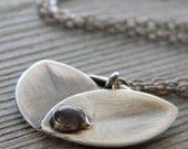 Sterling Silver Petals Floral Pendant Necklace with Labradorite Stone