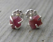 Rustic Prong Set Raw Pink Tourmaline Stud Earrings in Sterling Silver Rough Gem Earrings