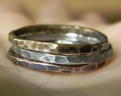 Distressed Stacking Rings - Mixed Metal Trio Copper Sterling Silver Brass