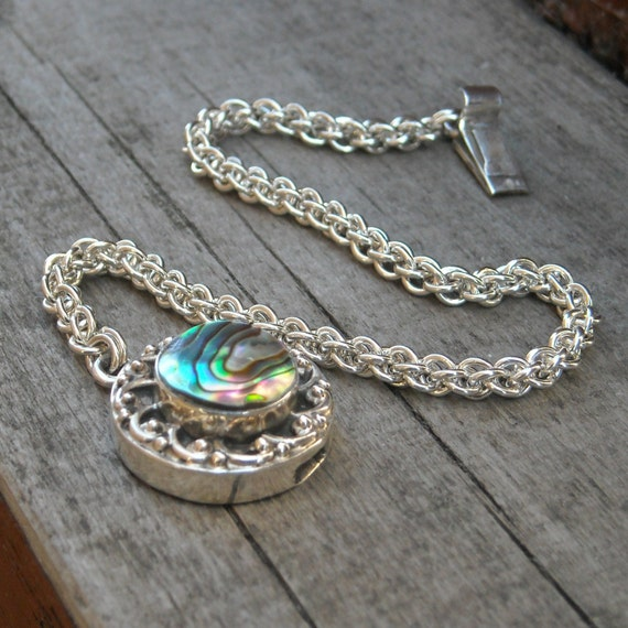 Sterling Silver JPL Chainmaille Bracelet with Abalone Box Clasp