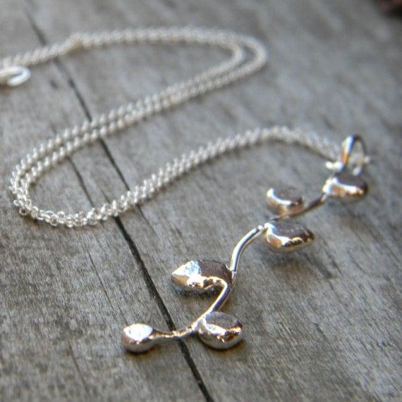 Super Sale Budding Branch Handmade Sterling Silver Pendant Necklace