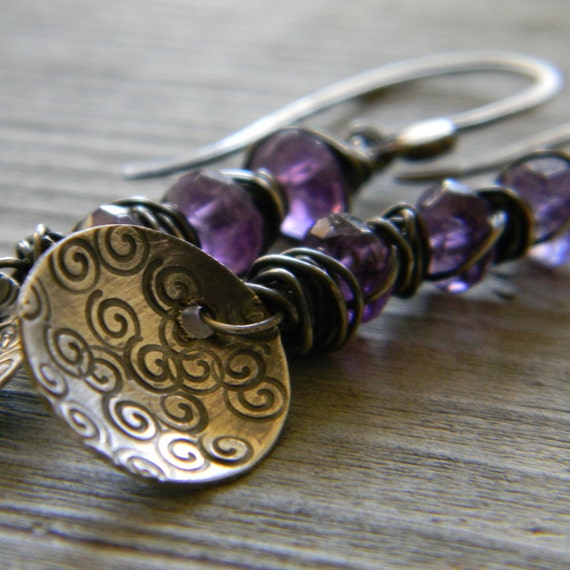 Sample Sale Rustic Purple Amethyst and Spiral Stamped Disc Earrings Handmade Sterling Silver Wire Wrapped Earrings