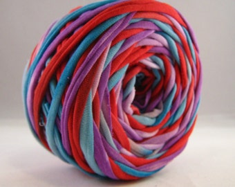 Hand Dyed T-Shirt Yarn- Red/Blue/Violet  60 Yards