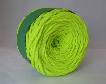 T Shirt Yarn, Hand Dyed Yarn,  Neon Green Yarn, 60 Yards, Green Yarn, Neon Yarn, Jersey Yarn, Cotton Yarn, Chunky Yarn, Upcycled Yarn