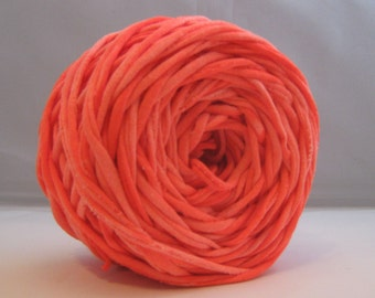 T Shirt Yarn Hand Dyed- Marbled  Neon Orange 60 Yards