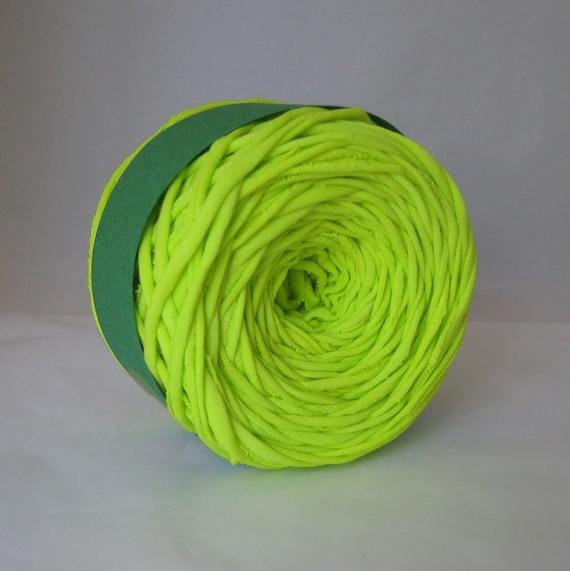 T Shirt Yarn, Hand Dyed Yarn,  Neon Green Yarn, 60 Yards, Green Yarn, Neon Yarn, Jersey Yarn, Cotton Yarn, Chunky Yarn, Upcycled Yarn