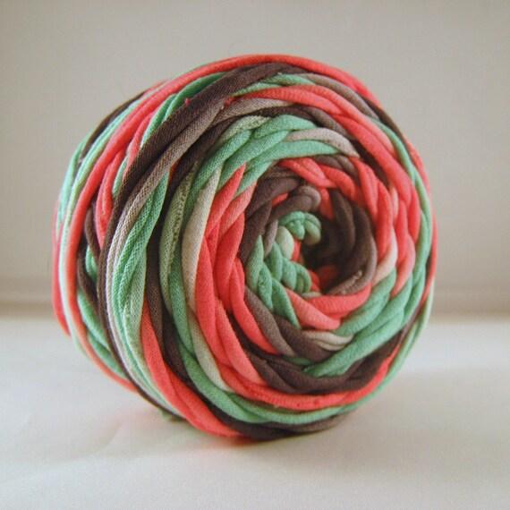 T Shirt Yarn Hand Dyed- Melanie- Pink/Gray/Verdant Green