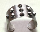 Vintage Funky Silver Tone Cuff Bracelet with Raised Bumps