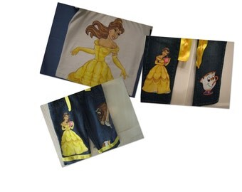 Custom Disney Princess shirt and 2 character jeans sets choice of sizes 12m -24m to 2 t0 12