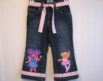 Custom Painted Sesame Street choice of Abby Cadabby, Zoe, Big Bird or Elmo SHIRT Sizes 12 to 24m, 2T to 10 teen
