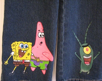 Custom Painted Spongebob choice of Characters  jeans/capri/shorts sizes 24m 2T/2 to 12