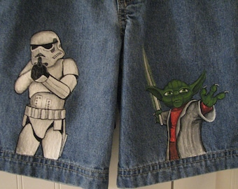 Custom painted Star Wars Jeans 2 (two) characters in choice of shorts or long jeans sizes 12m to 24m, 2, 2T to 12