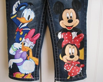 Custom Disney clothing ADULT Minnie, Mickey n Friends w 4 LARGE  size characters on the front of Hand Painted  jeans