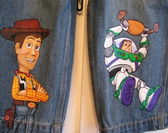 Custom Disney Clothing Hand Painted 2 Character  Toy Story Shorts or long jeans Sizes 6 m to 12 teen