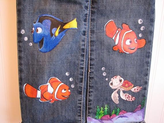Custom Painted Disney Finding Nemo Jeans Capri Shorts Sizes