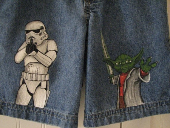 Custom painted Star Wars Jeans 2 characters in choice of shorts or long jeans sizes 12m to 24m, 2, 2T to 12