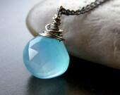 Aqua Blue Chalcedony Necklace, Petite Modern Necklace, Stone Teardrop Necklace
