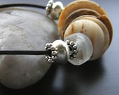 Ostrich Egg and Recycled Glass Leather Necklace, Eco Friendly Necklace, Shell Necklace