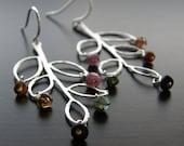 Lightweight Tourmaline Leaf Earrings, Petite Leaf Branch Outline Earrings