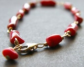 Delicate Red Coral and Gold Bracelet