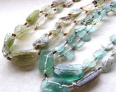 Extra Long Ancient Roman Glass Necklace - Green or Aqua Blue Glass Necklace