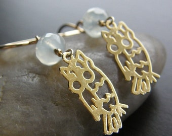 Gold Owl Earrings, Dainty Gold Bird Earrings, New Jade Earrings