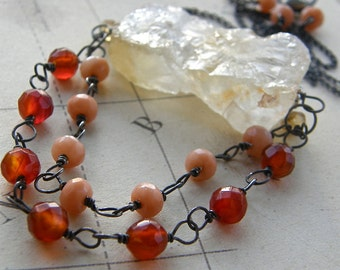 Rough Cut Citrine Nugget and Carnelian Statement Necklace, Stone Pendant Boho Jewelry, Bold Necklace