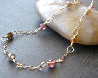 Tundra Sapphire Bracelet, Dainty Gold Chain Bracelet, Simple Gold Bracelet, Minimalist Bracelet