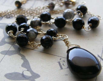 Black and Gold Necklace, Rosary Style Necklace, Stone Pendant, Brown and Black Agate Necklace