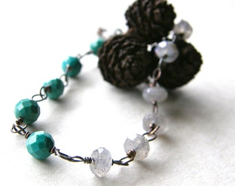 Turquoise and Labradorite Bracelet, Aqua and Grey Gemstone Bracelet