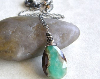 Mint Green Chrysoprase Necklace, Stone Pendant Necklace, Rustic Boho Necklace, Pick Your Stone